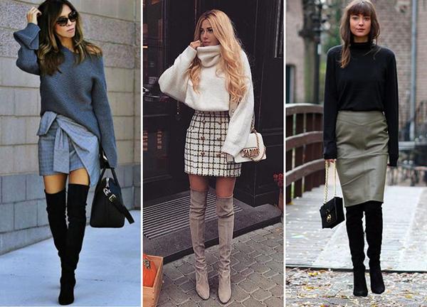 Девушки в свитерах и замшевых ботфортах