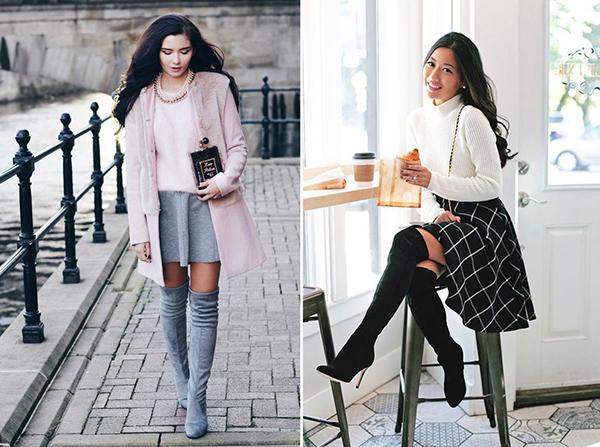 Демисезонные образы с юбками и замшевыми ботфортами