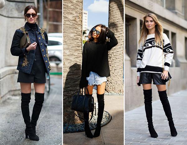 Образы с черными ботфортами и шортами мини