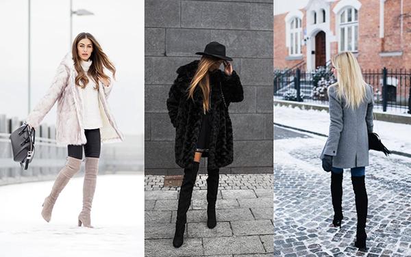 Зимние образы с замшевыми ботфортами на каблуке