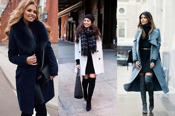 Девушки в зимних пальто и замшевых ботфортах на каблуке