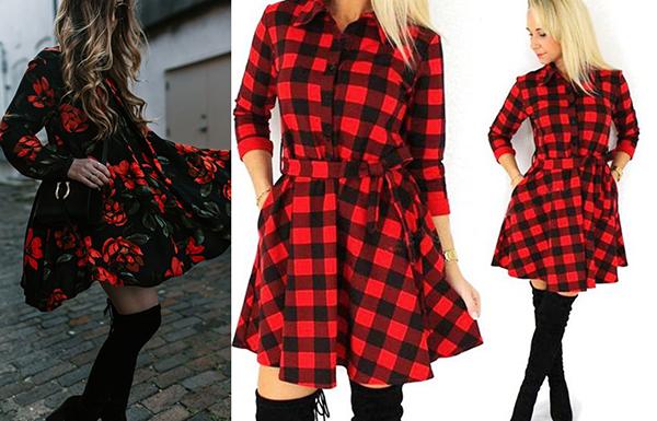 Черные замшевые ботфорты с красной одеждой