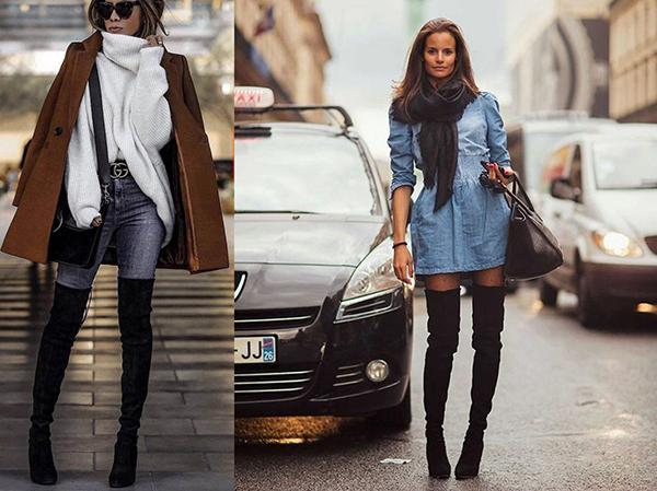 Образы с черными высокими ботфортами и джинсовой одеждой