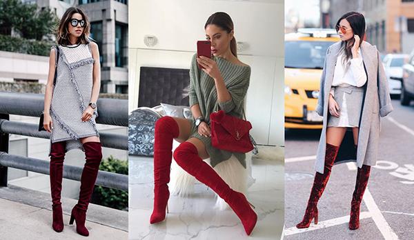 Образы с красными высокими ботфортами