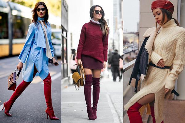 Бордовые и красные замшевые ботфорты в демисезонных образах