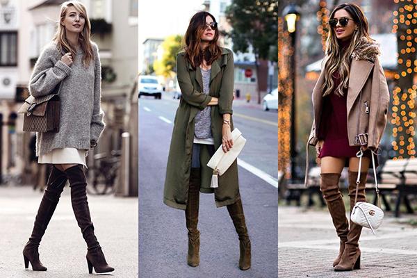 Девушки в коричневых замшевых ботфортах на каблуке