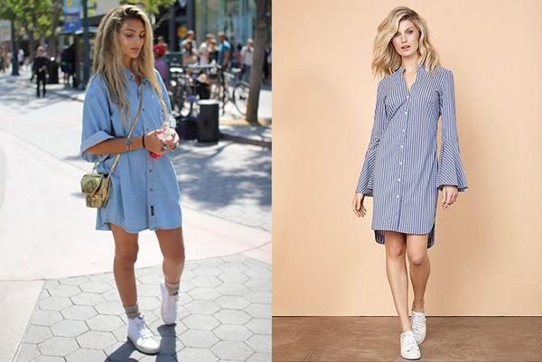 Девушки в длинных голубых рубашках и белых кроссовках
