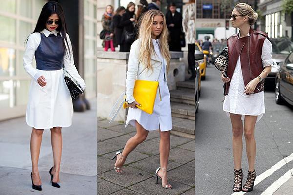 Платья-рубашки с жилетами и косухой