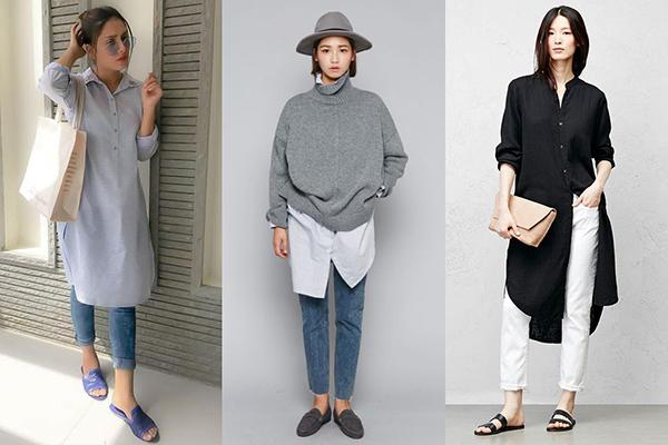 Модные женские образы с удлиненными рубашками