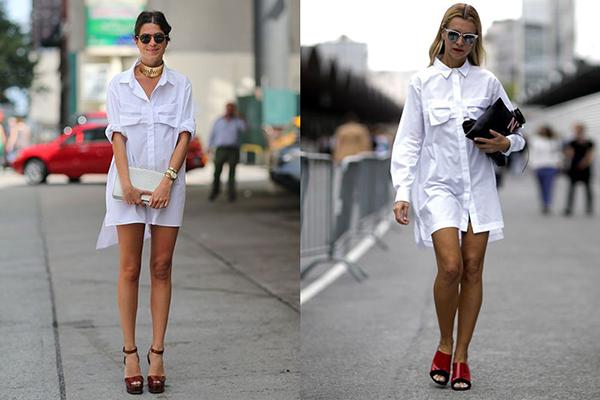 Девушки в белых платьях-рубашках