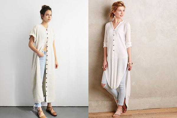 Женщины в длинных белых рубашках и голубых джинсах