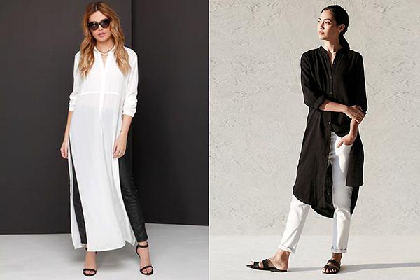 Черно-белые образы с длинной женской рубашкой
