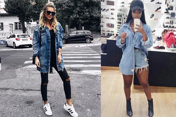 Девушки в длинных джинсовых рубашках
