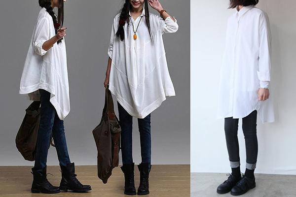 Белая женская рубашка оверсайз