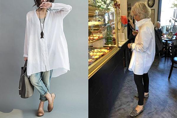 Женщины 40+ в стильных белых рубашках оверсайз