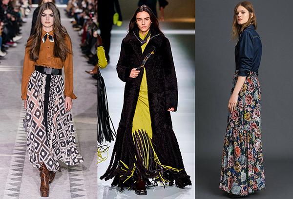 Длинные юбки с цветным принтом