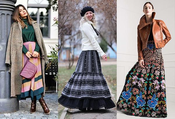 Длинные юбки с разноцветным принтом в зимних образах