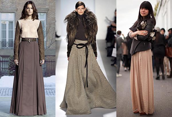 Однотонные длинные юбки в зимних образах