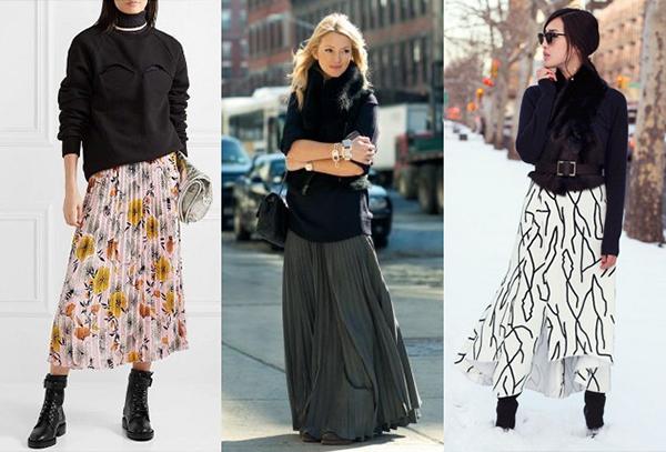 Длинные и легкие юбки в зимних образах