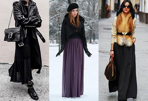 Зимние образы с легкими длинными юбками