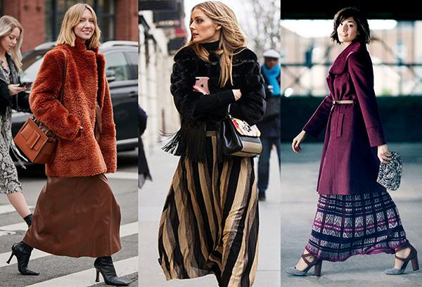 Длинные юбки с зимней верхней одеждой