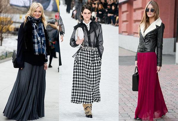 Женщины в длинных юбках и коротких зимних куртках