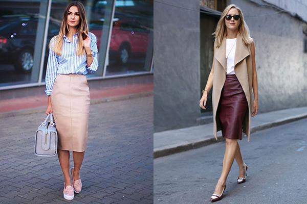 Кожаные юбки-карандаши