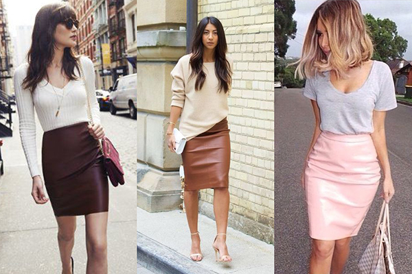 Розовые и коричневые кожаные юбки в весенних образах