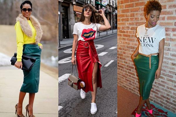 Девушки в зеленых и красных кожаных юбках миди