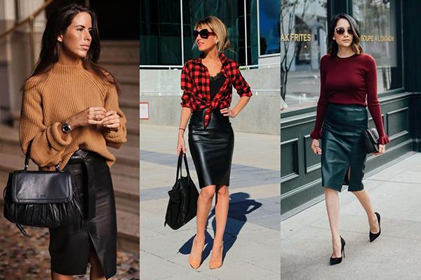 Образы с кожаными юбками длины миди