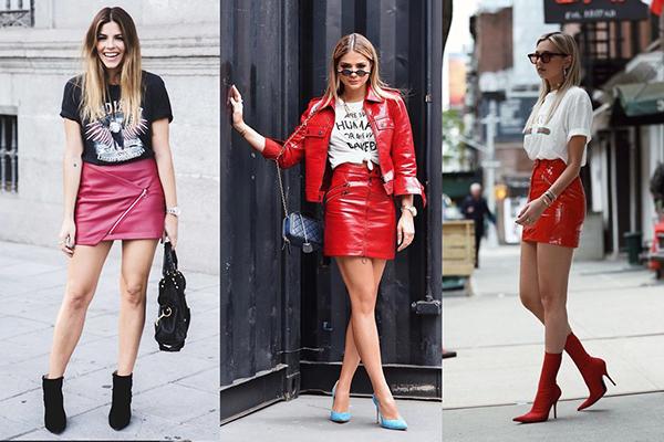 Девушки в красных кожаных мини-юбках