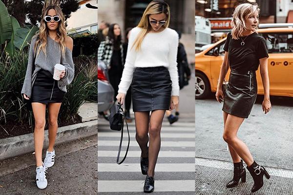 Девушки в черных кожаных юбках