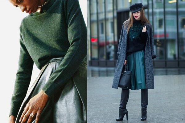 Цветные расклешенные кожаные юбки