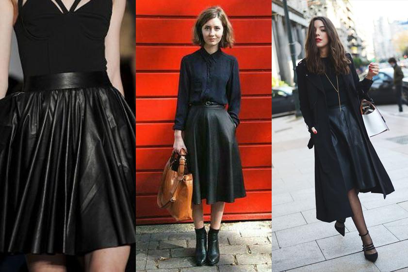 Черные расклешенные кожаные юбки в монохромных образах