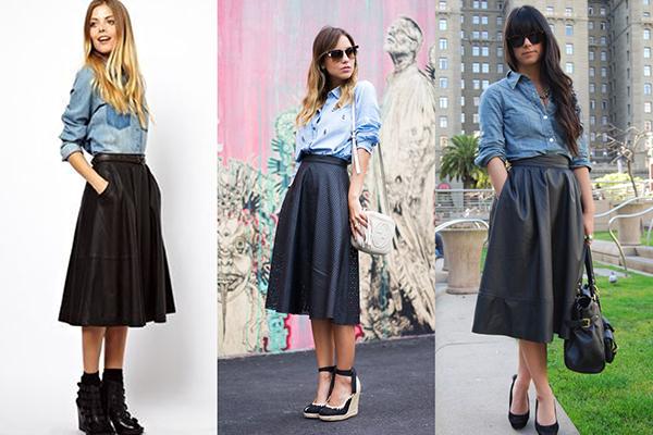 Образы с черной расклешенной кожаной юбкой и джинсовой рубашкой