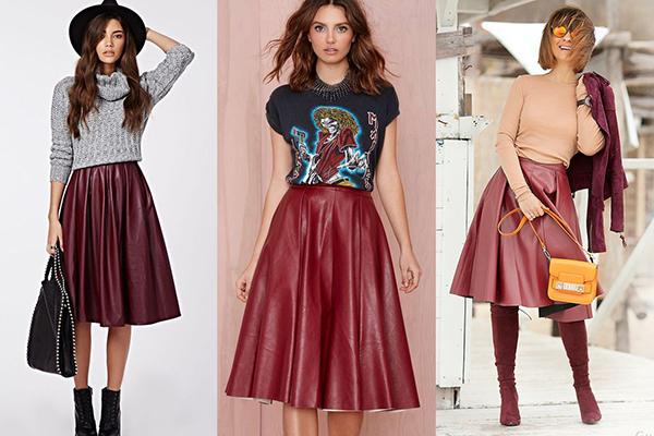 Образы с красными расклешенными кожаными юбками