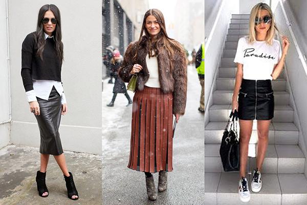 Девушки в кожаных юбках