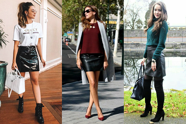 Черная кожаная юбка с разной обувью