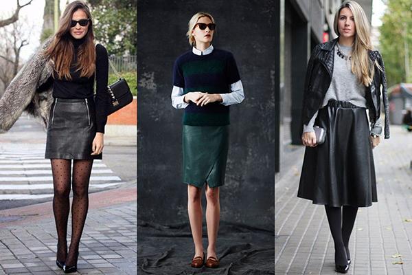 Осенние образы с кожаными юбками