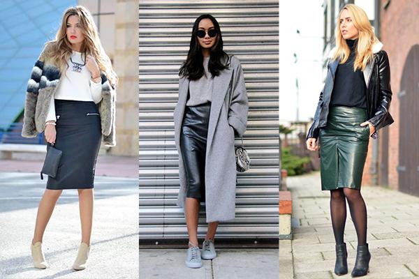 Демисезонные образы с кожаными юбками