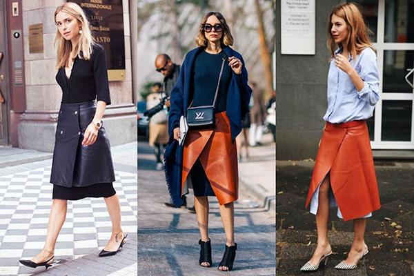 Кожаные юбки с запахом в многослойных образах