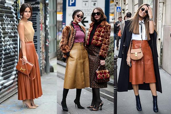 Стильные образы с коричневыми кожаными юбками