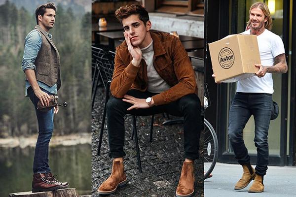 Мужчины в коричневых ботинках разных оттенков