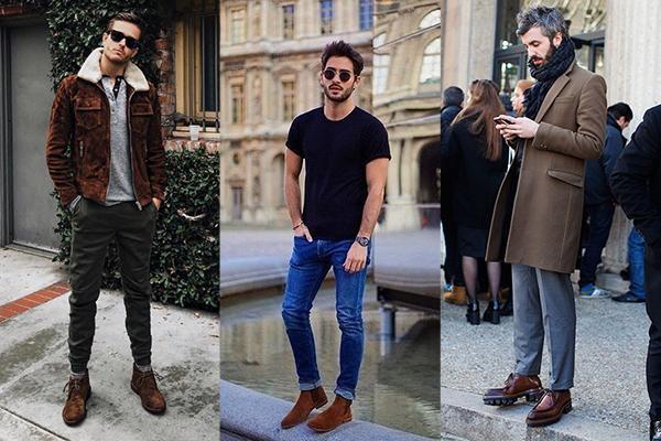 Мужчины в модных коричневых ботинках