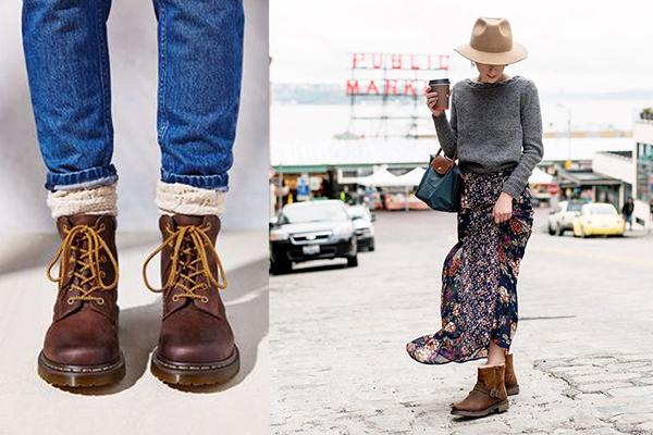 Женщины в коричневых ботинках в мужском стиле