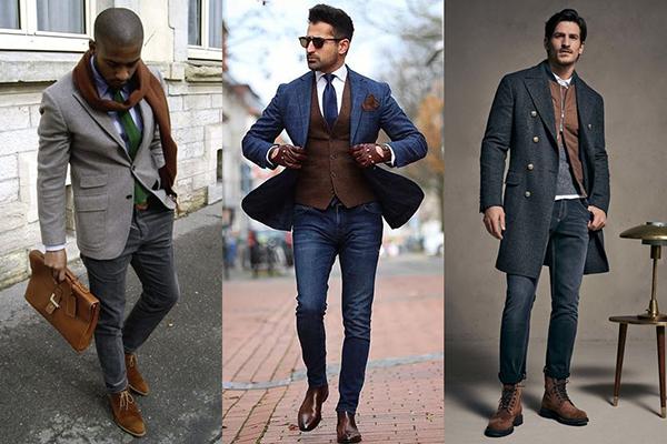 Мужские коричневые ботинки в деловых образах