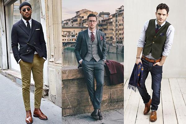 Сочетание мужских коричневых ботинок с одеждой в деловом стиле