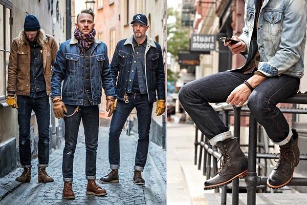 Мужчины в джинсовой одежде и коричневых ботинках