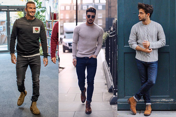 Мужские коричневые ботинки со свитером и джинсами