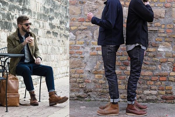 Многослойные образы с коричневыми ботинками для мужчин